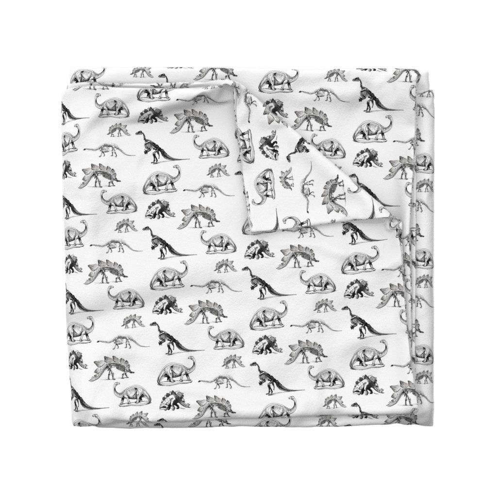 Wyandotte Duvet Cover featuring Museum Animals, Dinosaur Skeletons, Black and White Dino by bohobear