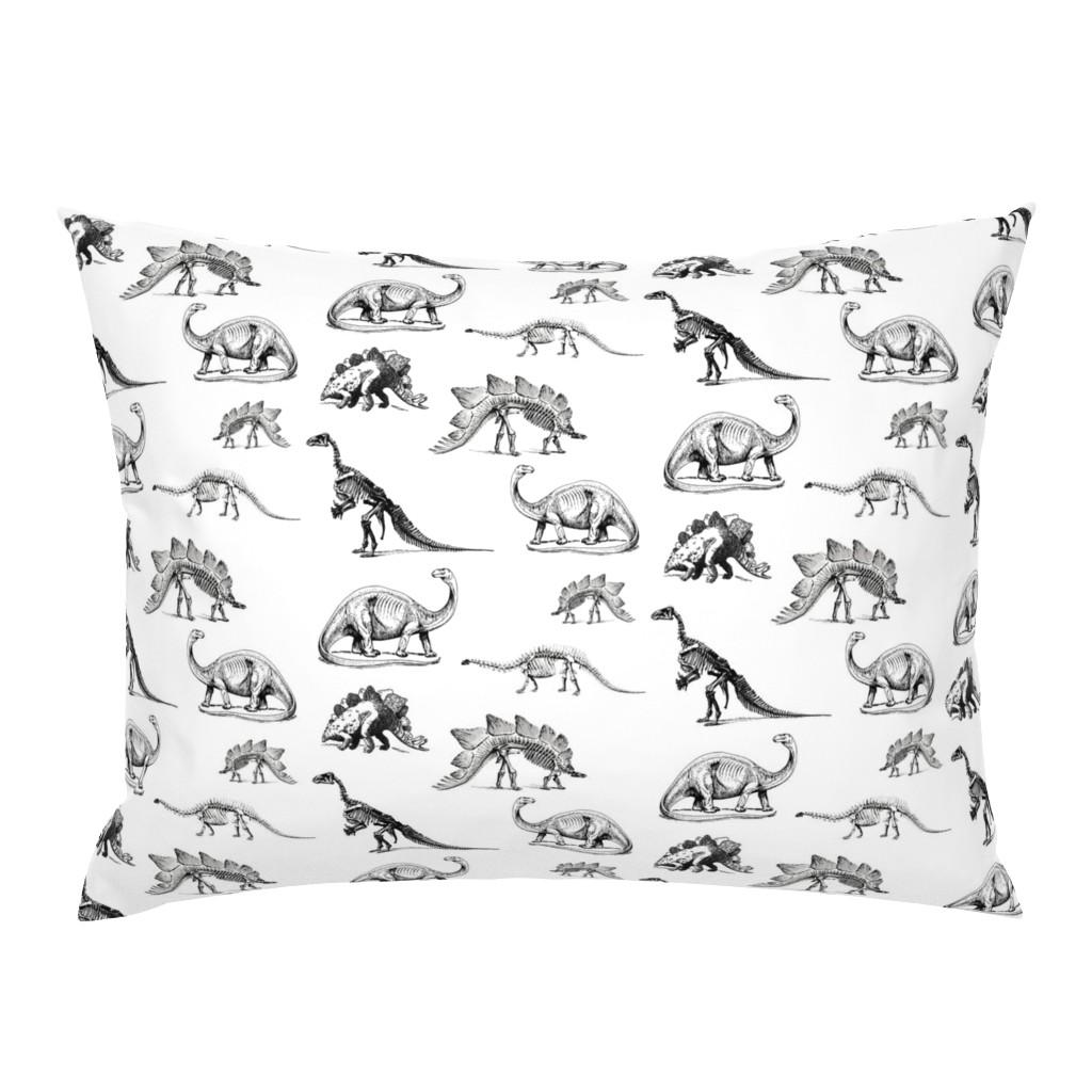 Campine Pillow Sham featuring Museum Animals, Dinosaur Skeletons, Black and White Dino by bohobear