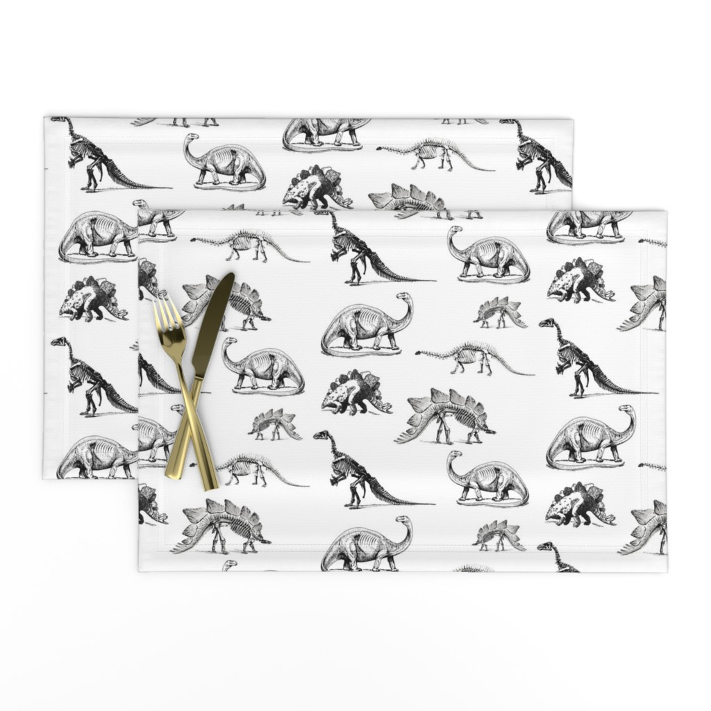 Lamona Cloth Placemats featuring Museum Animals, Dinosaur Skeletons, Black and White Dino by bohobear