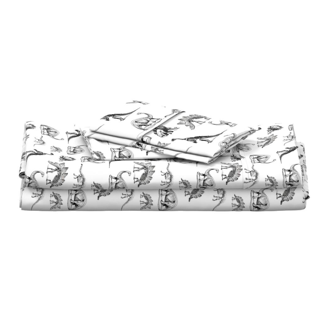 Langshan Full Bed Set featuring Museum Animals, Dinosaur Skeletons, Black and White Dino by bohobear