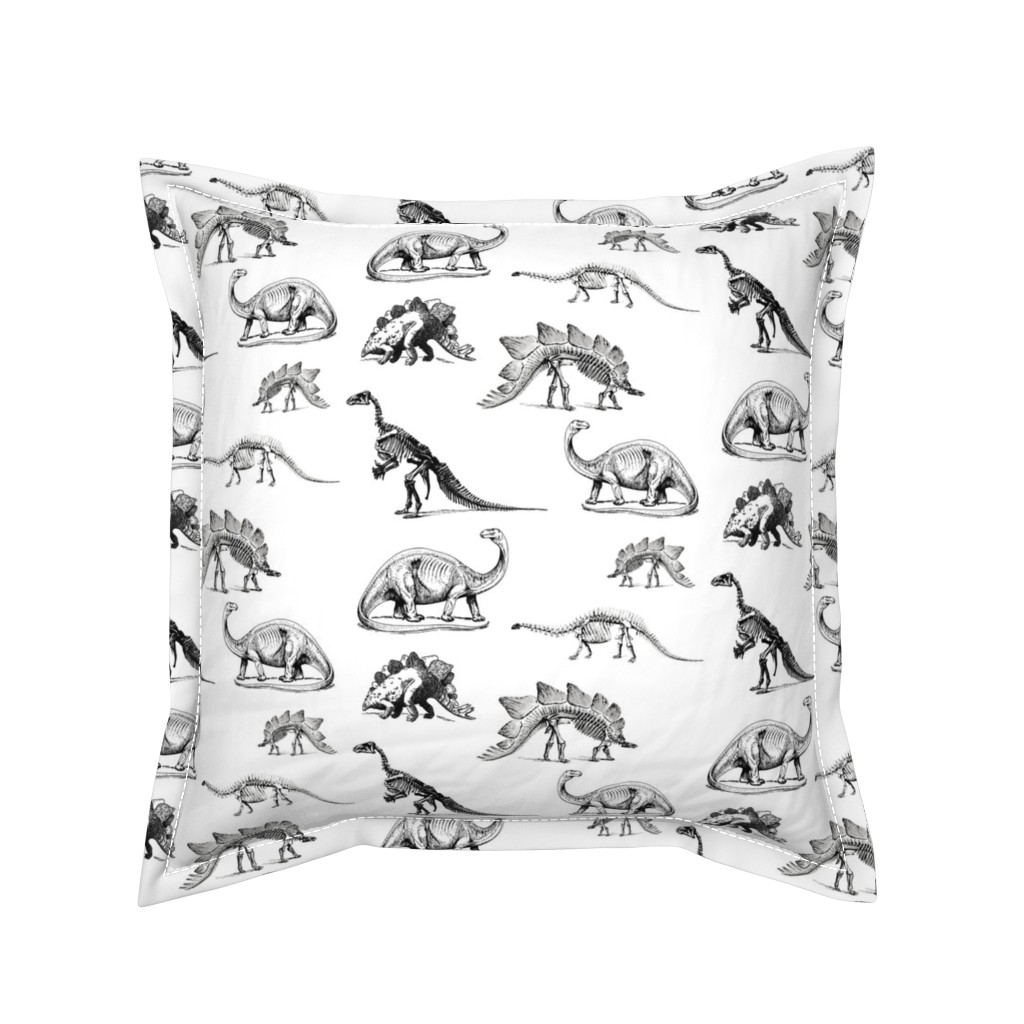 Serama Throw Pillow featuring Museum Animals, Dinosaur Skeletons, Black and White Dino by bohobear
