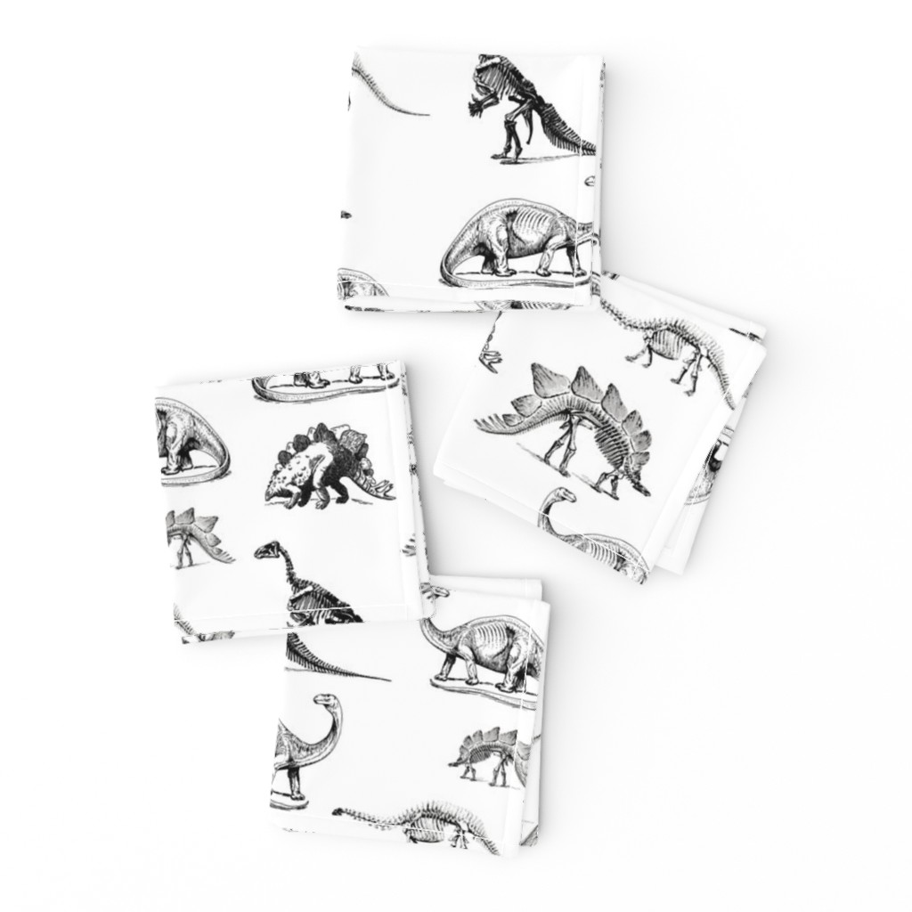 Frizzle Cocktail Napkins featuring Museum Animals, Dinosaur Skeletons, Black and White Dino by bohobear