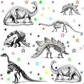 Dinosaur Skeletons on Rainbow Stars, Black and White Dino