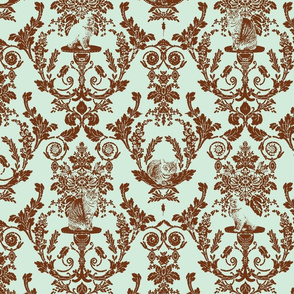 cat damask in D3EBDB and 703314