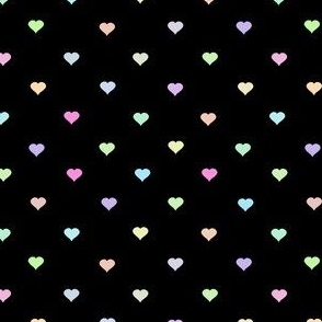 tiny neon rainbow hearts on black - colorful heart pattern