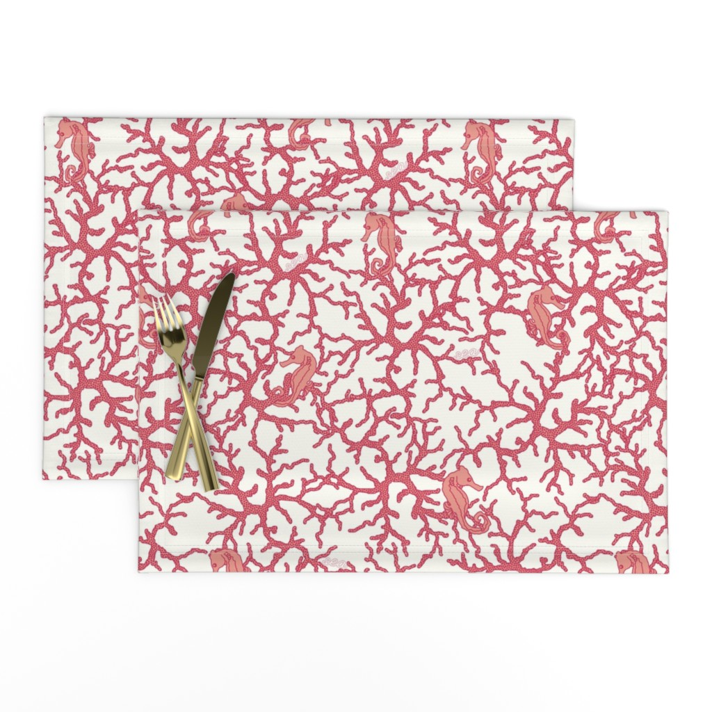 Lamona Cloth Placemats featuring Camo_Coral by suzy_albert_design