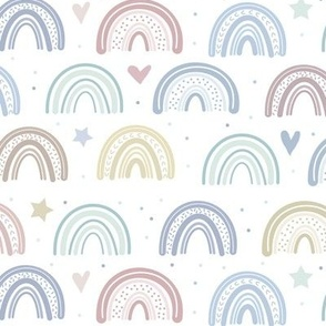 Soft Earth Tone Rainbows Stars & Hearts