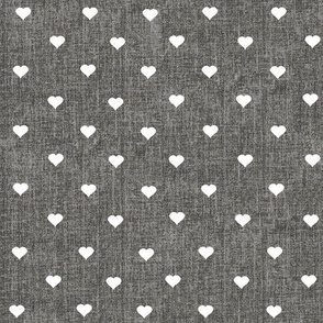 tiny hearts on charcoal grey textured background (small print)