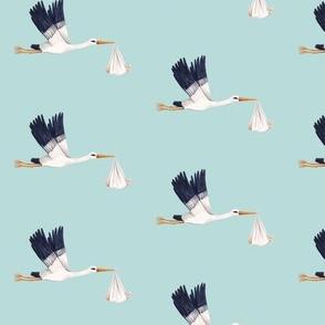 Stork on Sky Blue