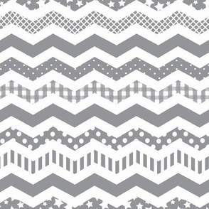 Charcoal Grey Chevron pattern with a funky twist