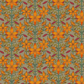 Art Nouveau Lilies Orange Burgundy and Gray