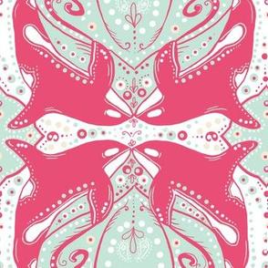 Pink Ornamental Orca in an ornate minty sea