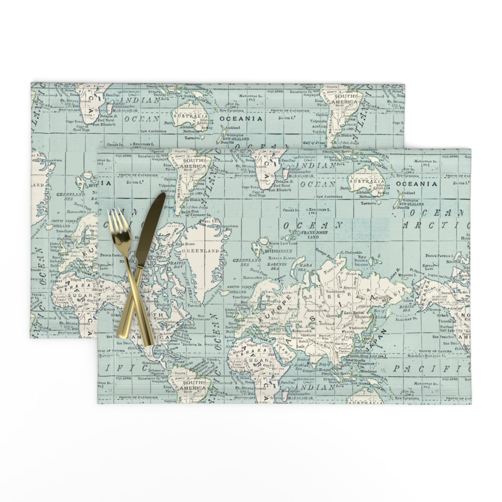 Lamona Cloth Placemats featuring Soft Blue and cream map by aftermyart