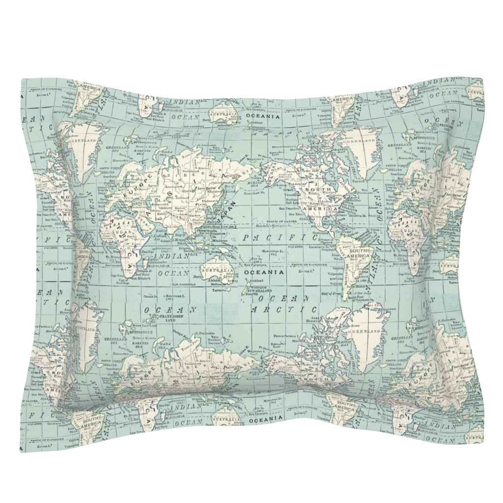 Sebright Pillow Sham featuring Soft Blue and cream map by aftermyart