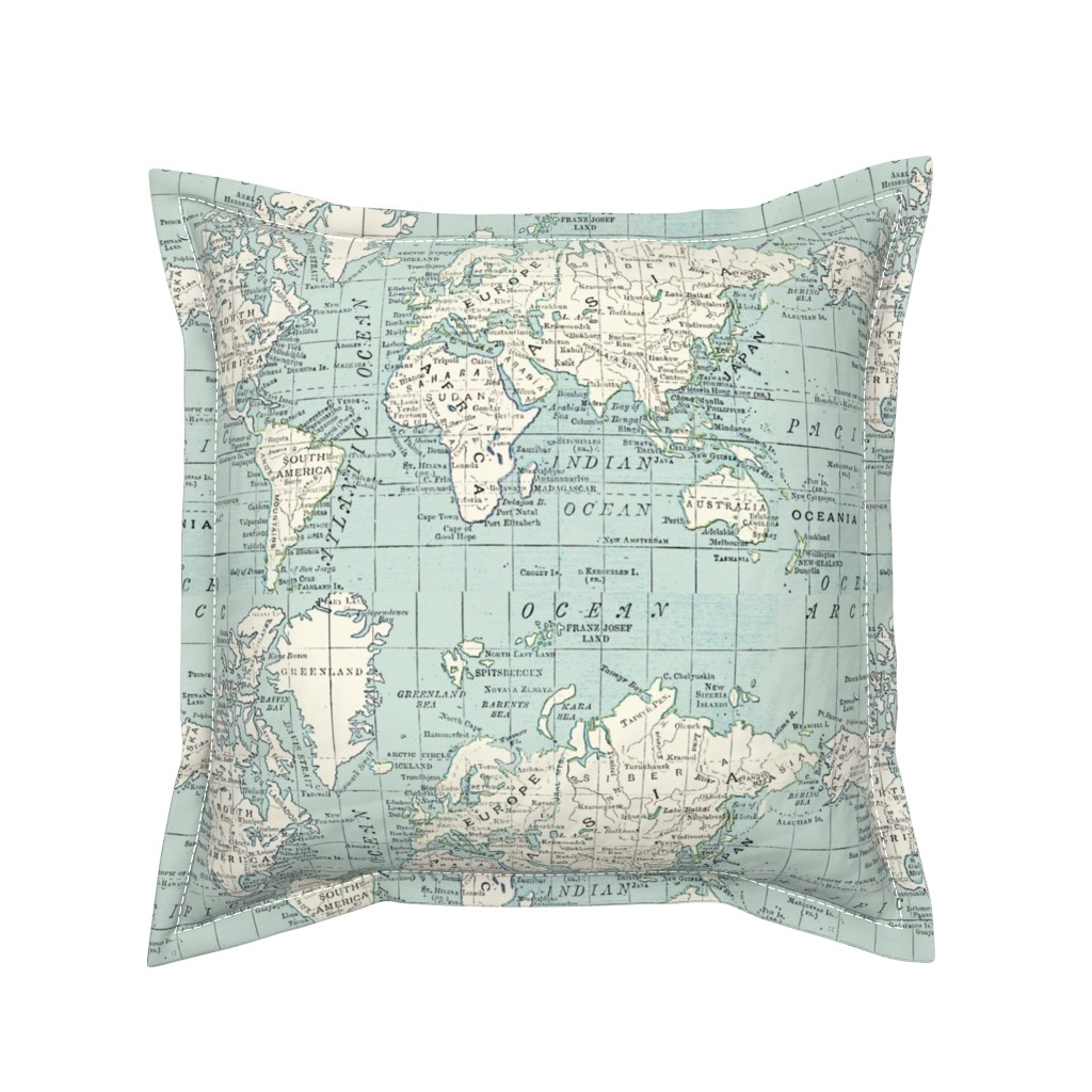Serama Throw Pillow featuring Soft Blue and cream map by aftermyart