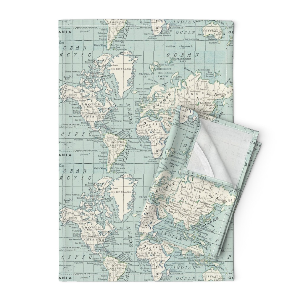 Orpington Tea Towels featuring Soft Blue and cream map by aftermyart