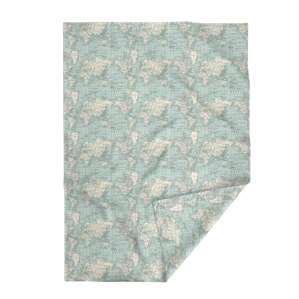 Lakenvelder Throw Blanket featuring Soft Blue and cream map by aftermyart