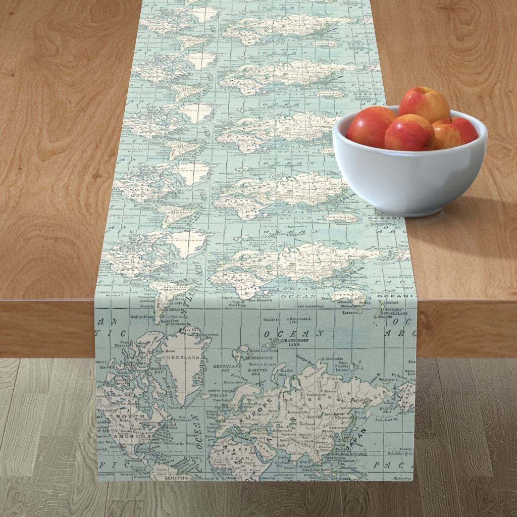 Minorca Table Runner featuring Soft Blue and cream map by aftermyart