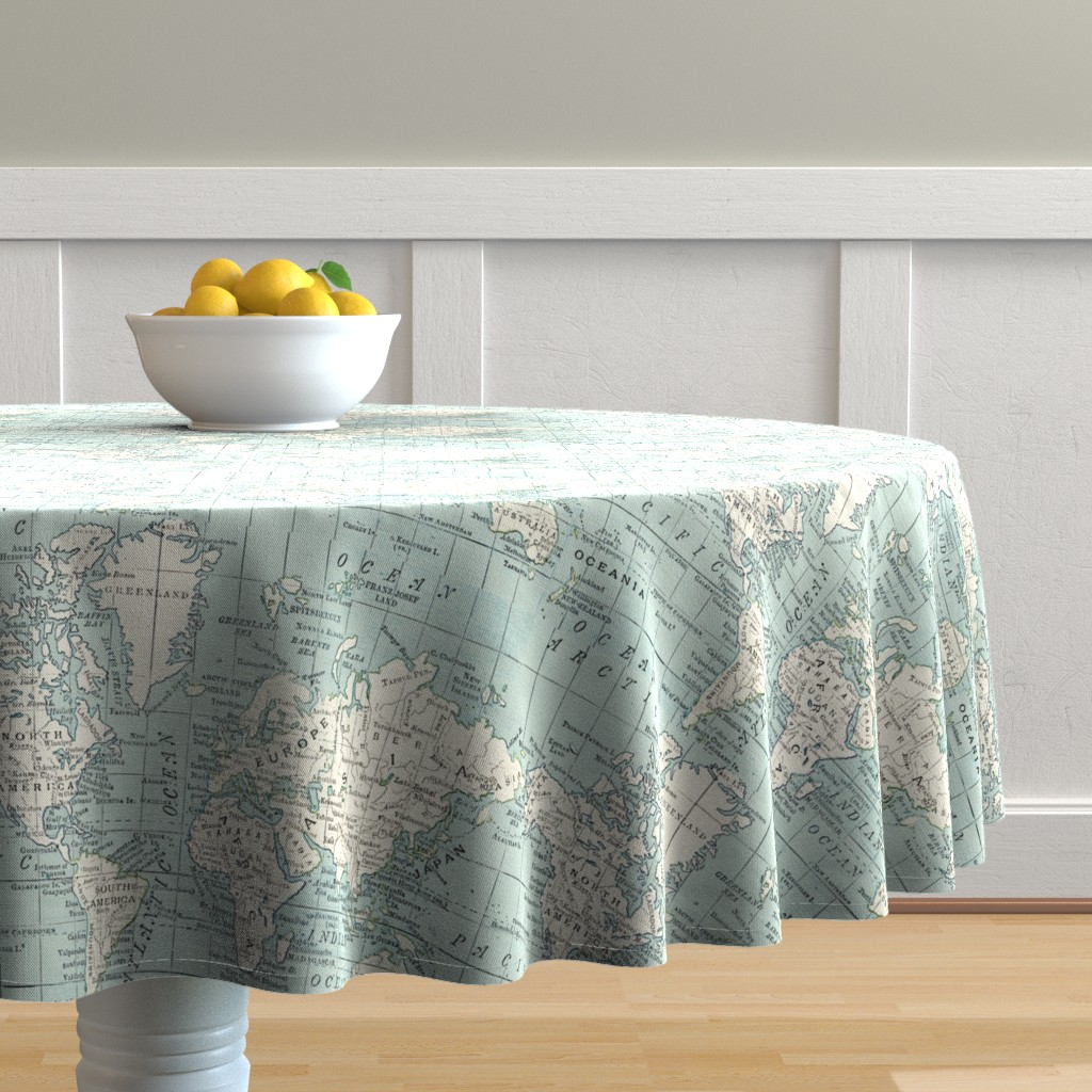Malay Round Tablecloth featuring Soft Blue and cream map by aftermyart