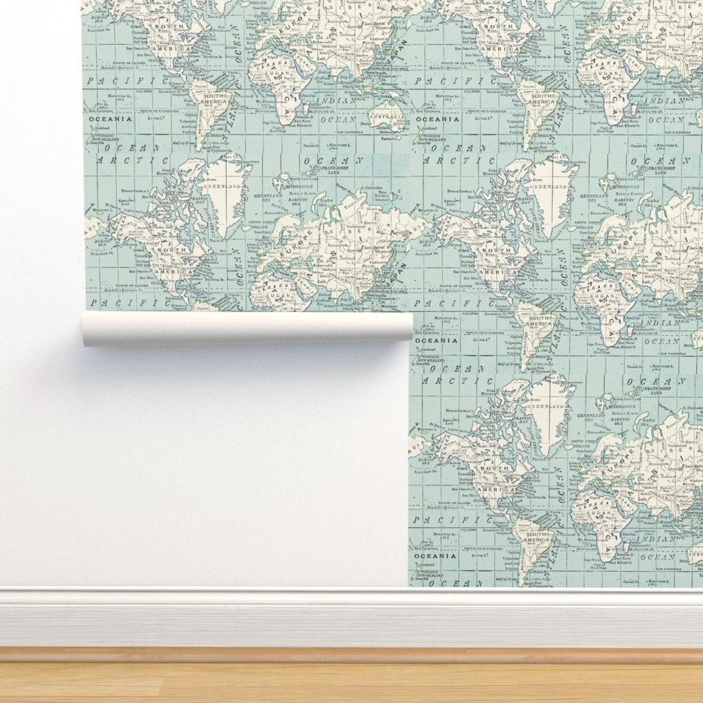 Isobar Durable Wallpaper featuring Soft Blue and cream map by aftermyart