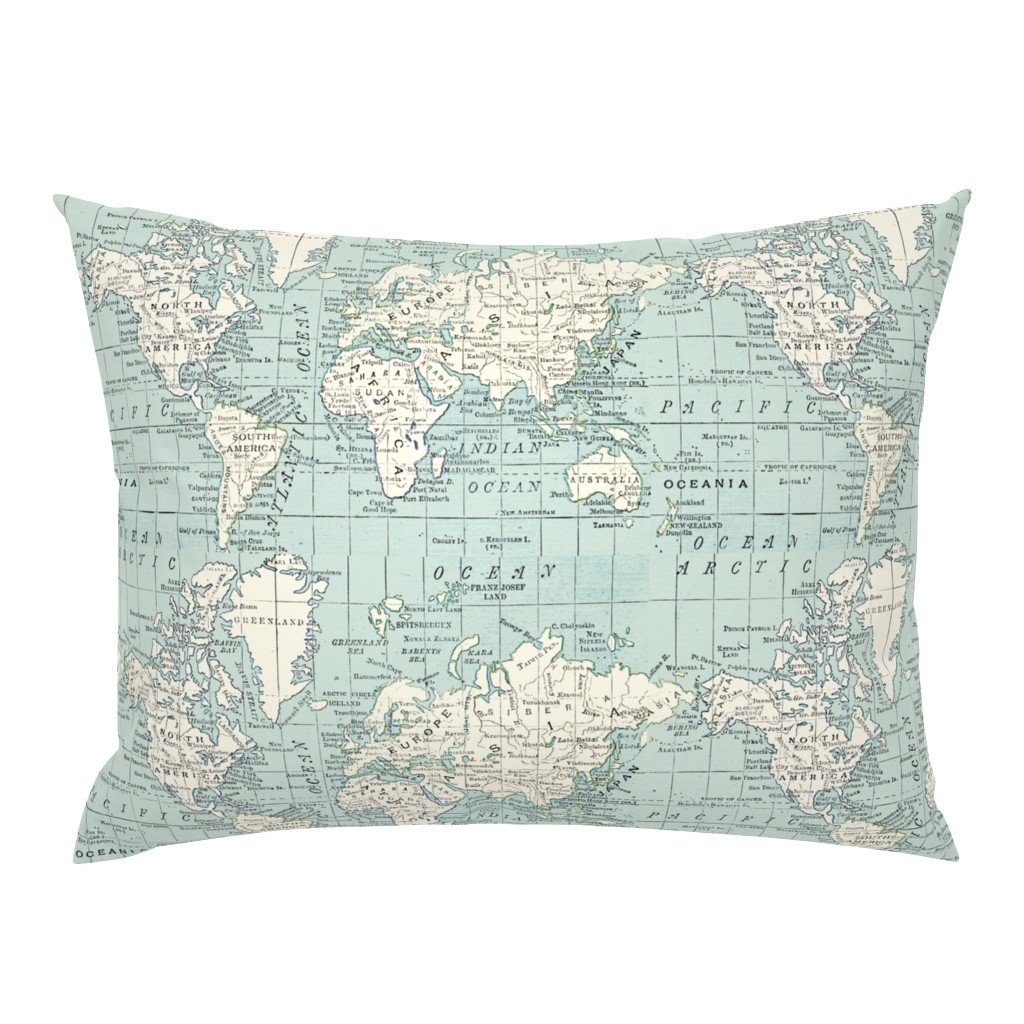 Campine Pillow Sham featuring Soft Blue and cream map by aftermyart