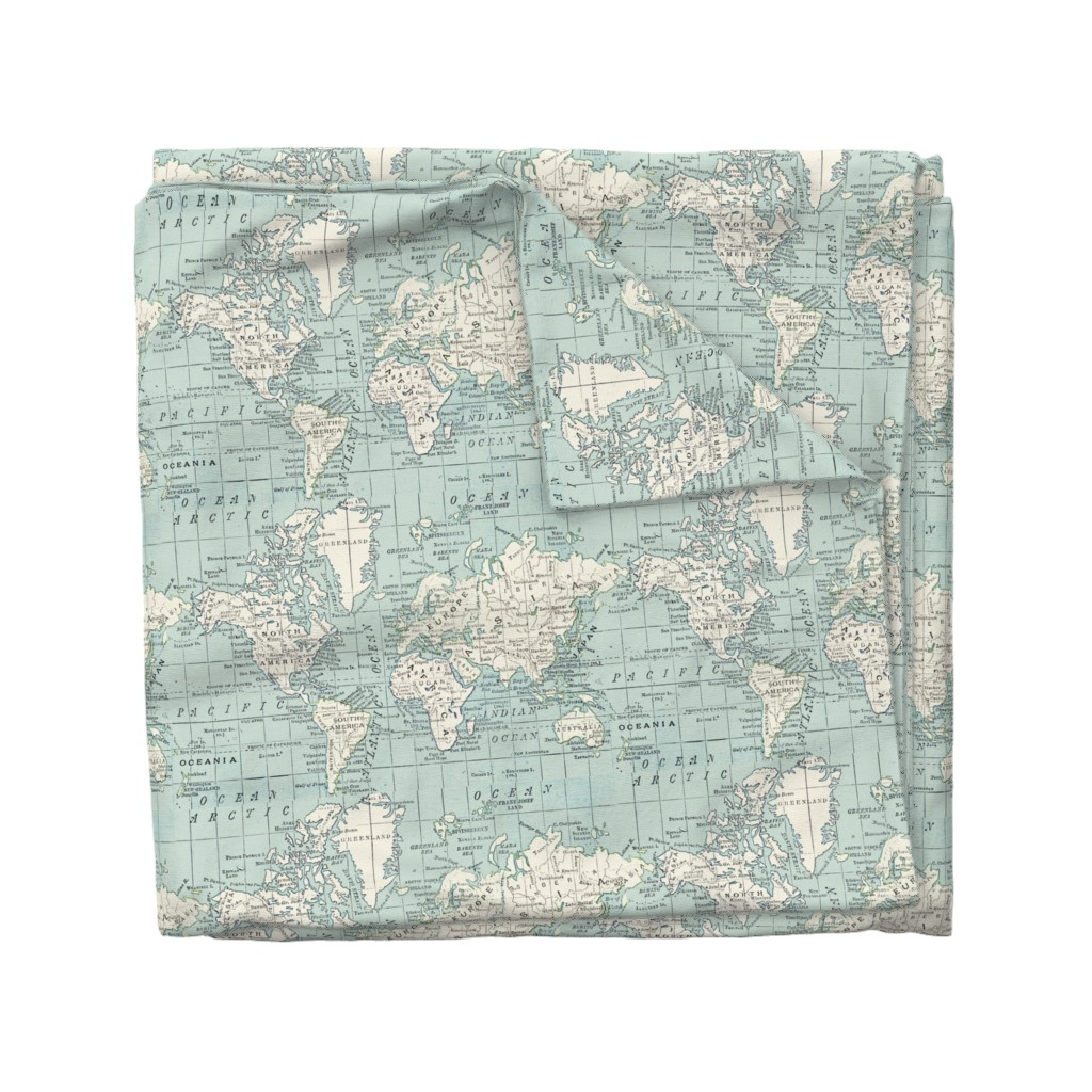Wyandotte Duvet Cover featuring Soft Blue and cream map by aftermyart