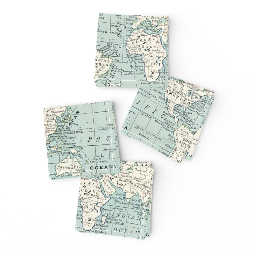 Frizzle Cocktail Napkins featuring Soft Blue and cream map by aftermyart
