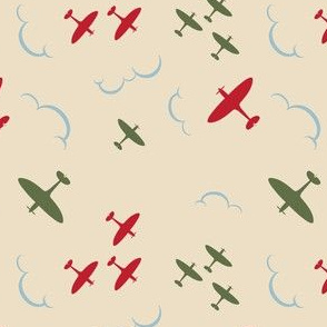 1940s inspired Spitfire aircrafts red and green