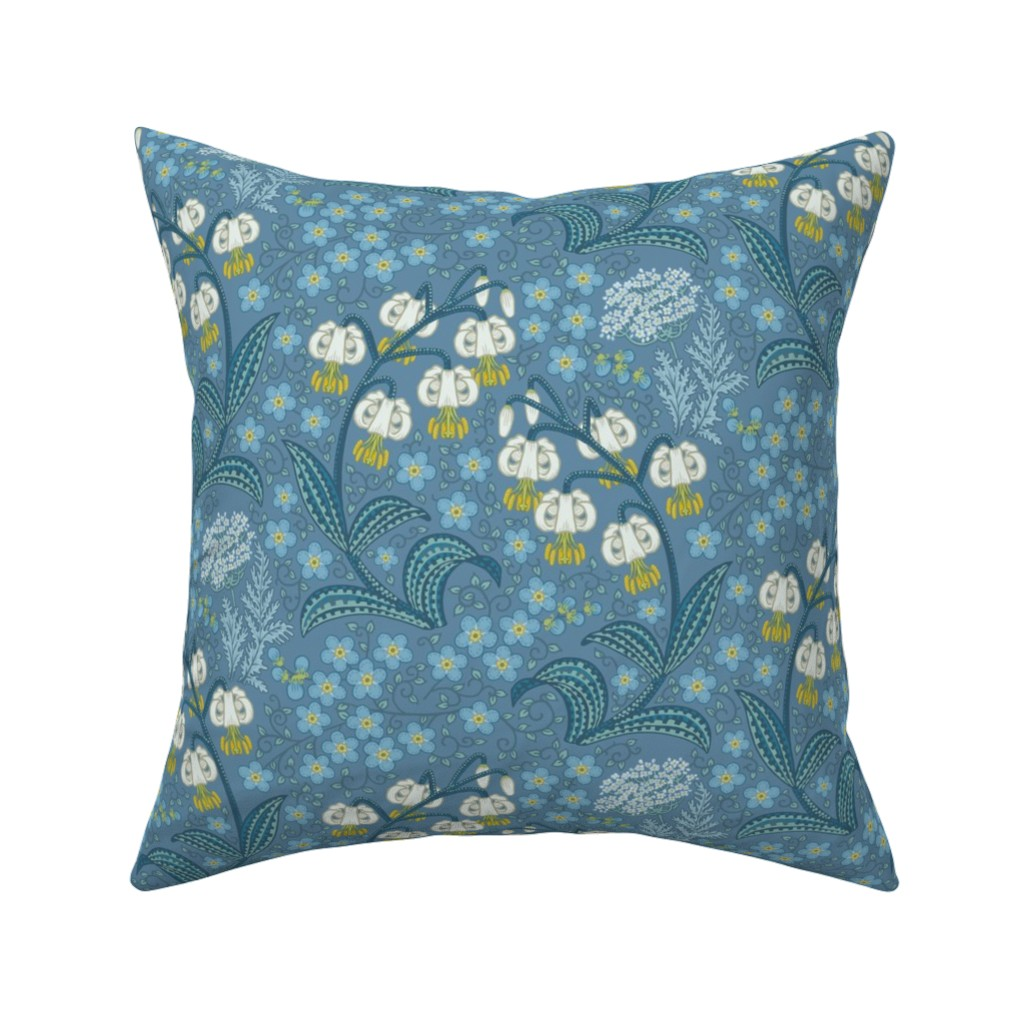 Catalan Throw Pillow featuring White Martagon Lilies (blue) by chantal_pare