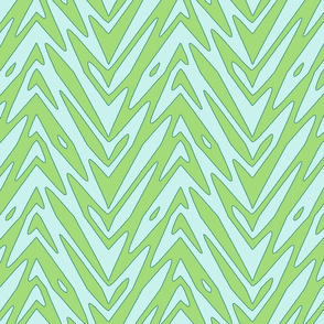 feather zigzag in greens
