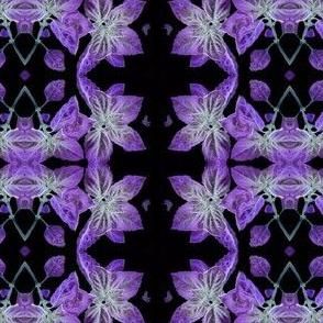 botanical mirror repeat purple basil on black