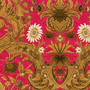 Parrot Damask ~ Gold on Courtesan Moire