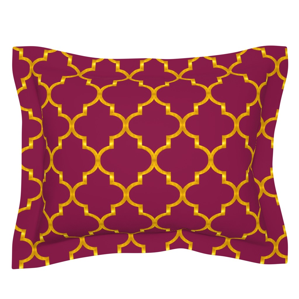 Sebright Pillow Sham featuring Merlot and Gold Quatrefoil by willowlanetextiles