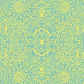 bridal mendhi - yellow and teal