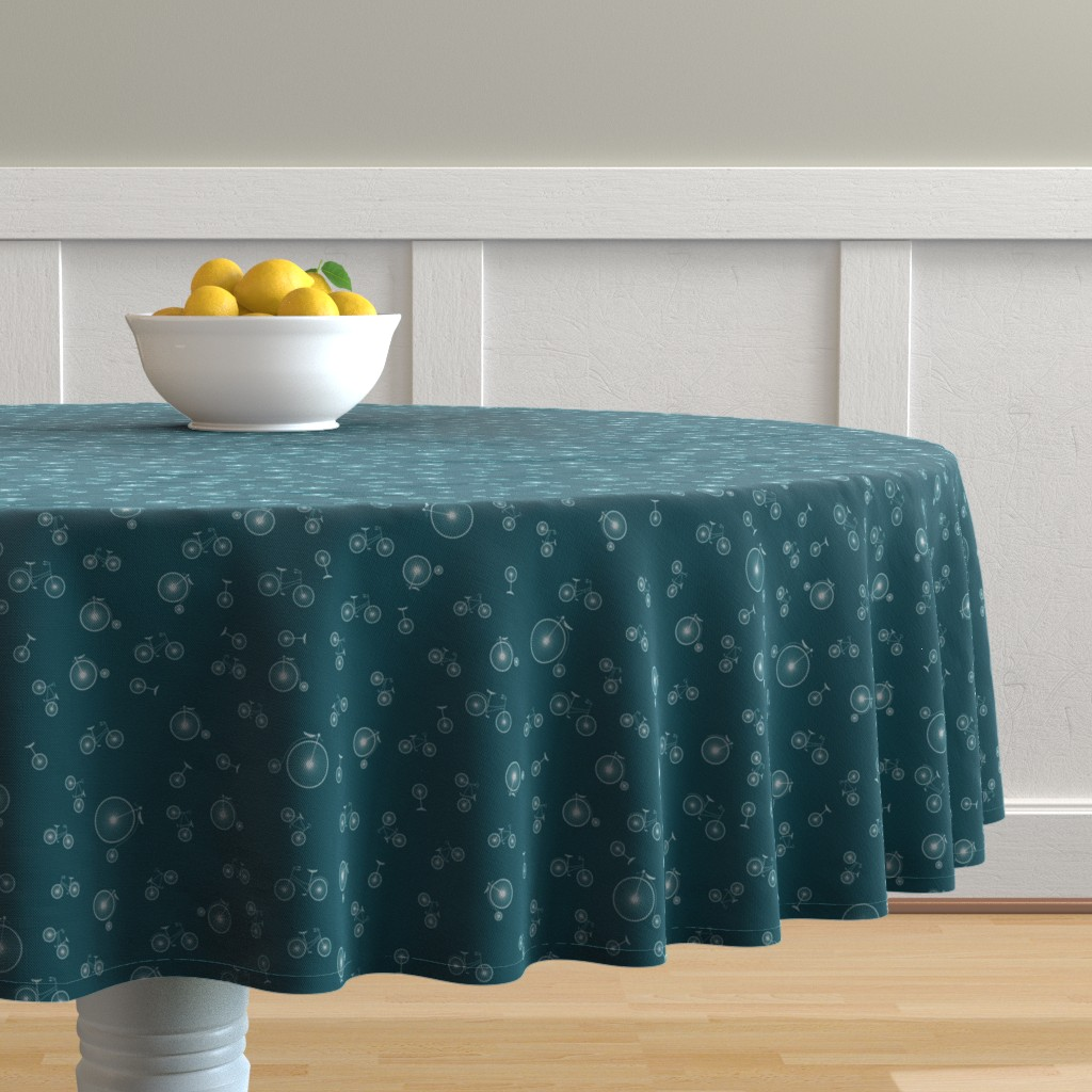Malay Round Tablecloth featuring I like to ride my bicycle by candyjoyce