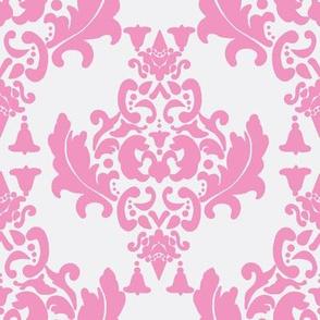 Pink on White Damask