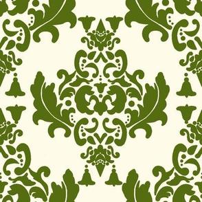 Olive Green on Cream Damask