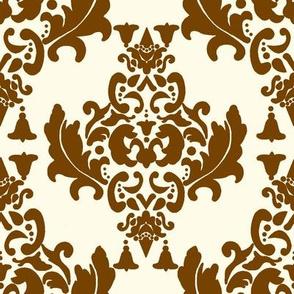 Brown on Cream Damask