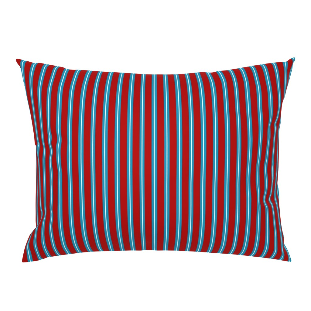 Campine Pillow Sham featuring Red Buttons Stripes by jozanehouse