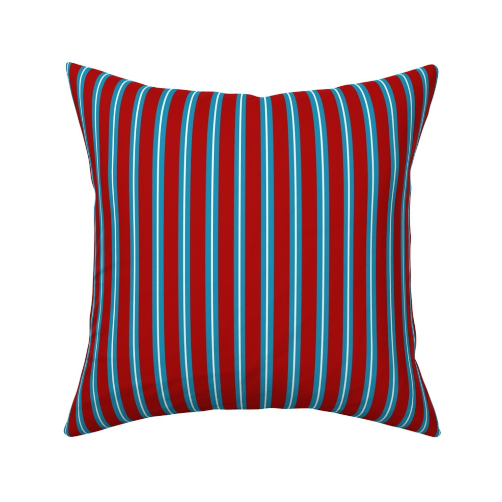 Catalan Throw Pillow featuring Red Buttons Stripes by jozanehouse