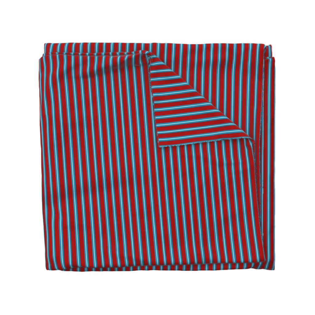 Wyandotte Duvet Cover featuring Red Buttons Stripes by jozanehouse