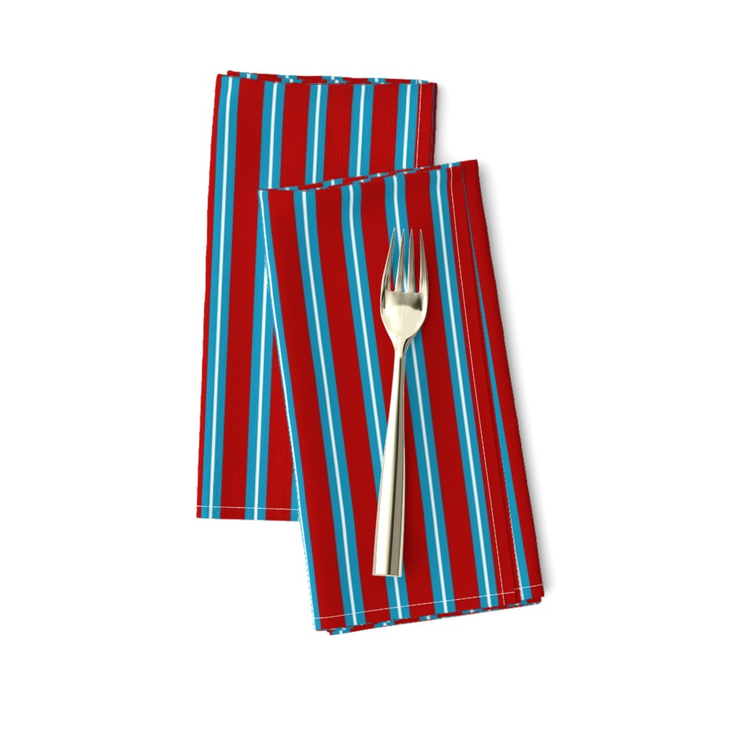 Amarela Dinner Napkins featuring Red Buttons Stripes by jozanehouse