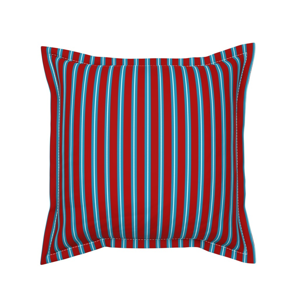 Serama Throw Pillow featuring Red Buttons Stripes by jozanehouse