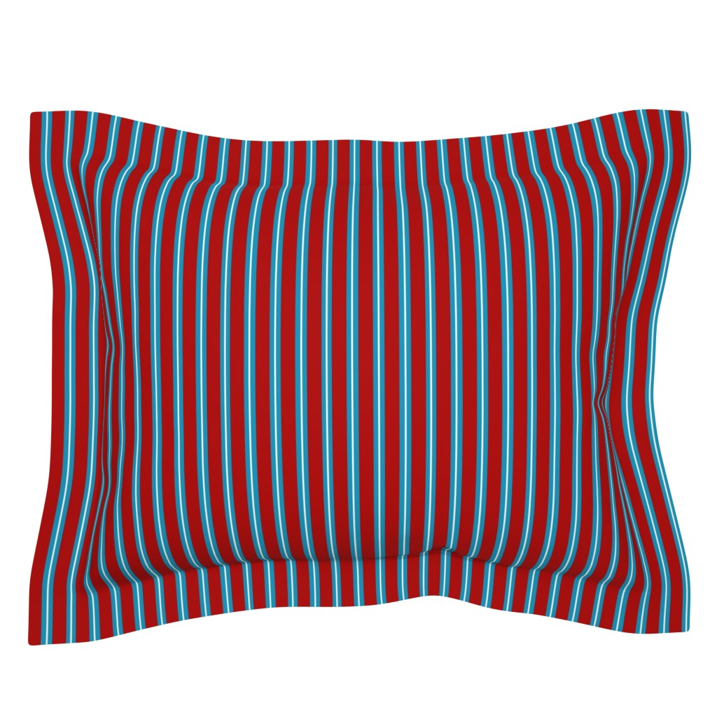 Sebright Pillow Sham featuring Red Buttons Stripes by jozanehouse