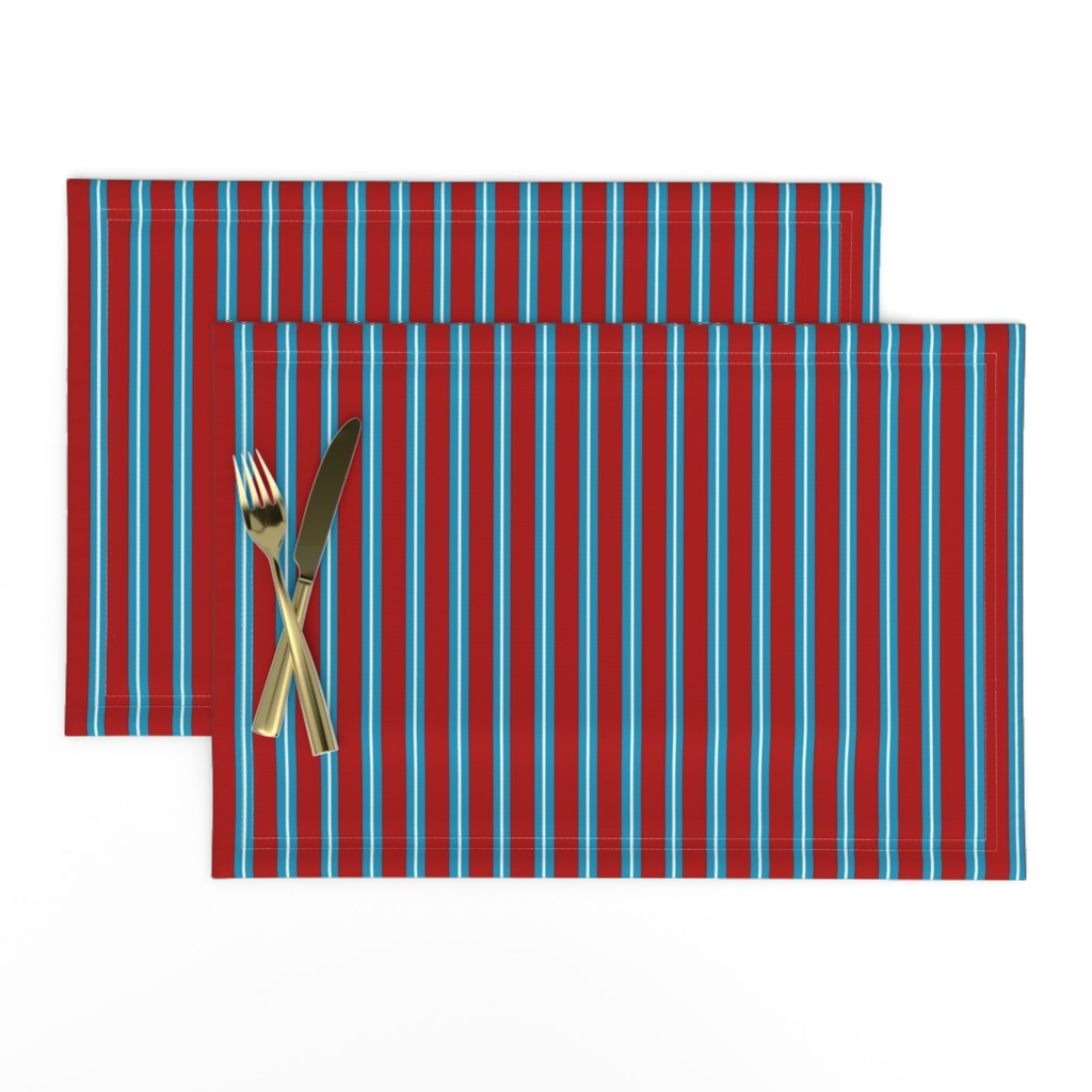Lamona Cloth Placemats featuring Red Buttons Stripes by jozanehouse