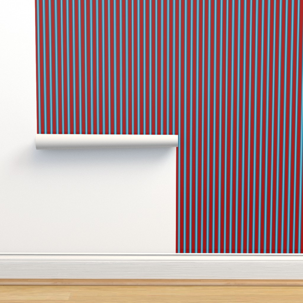 Isobar Durable Wallpaper featuring Red Buttons Stripes by jozanehouse