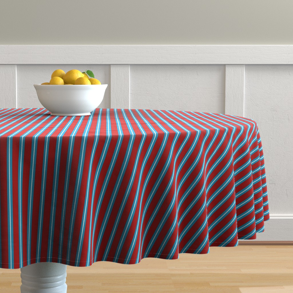 Malay Round Tablecloth featuring Red Buttons Stripes by jozanehouse