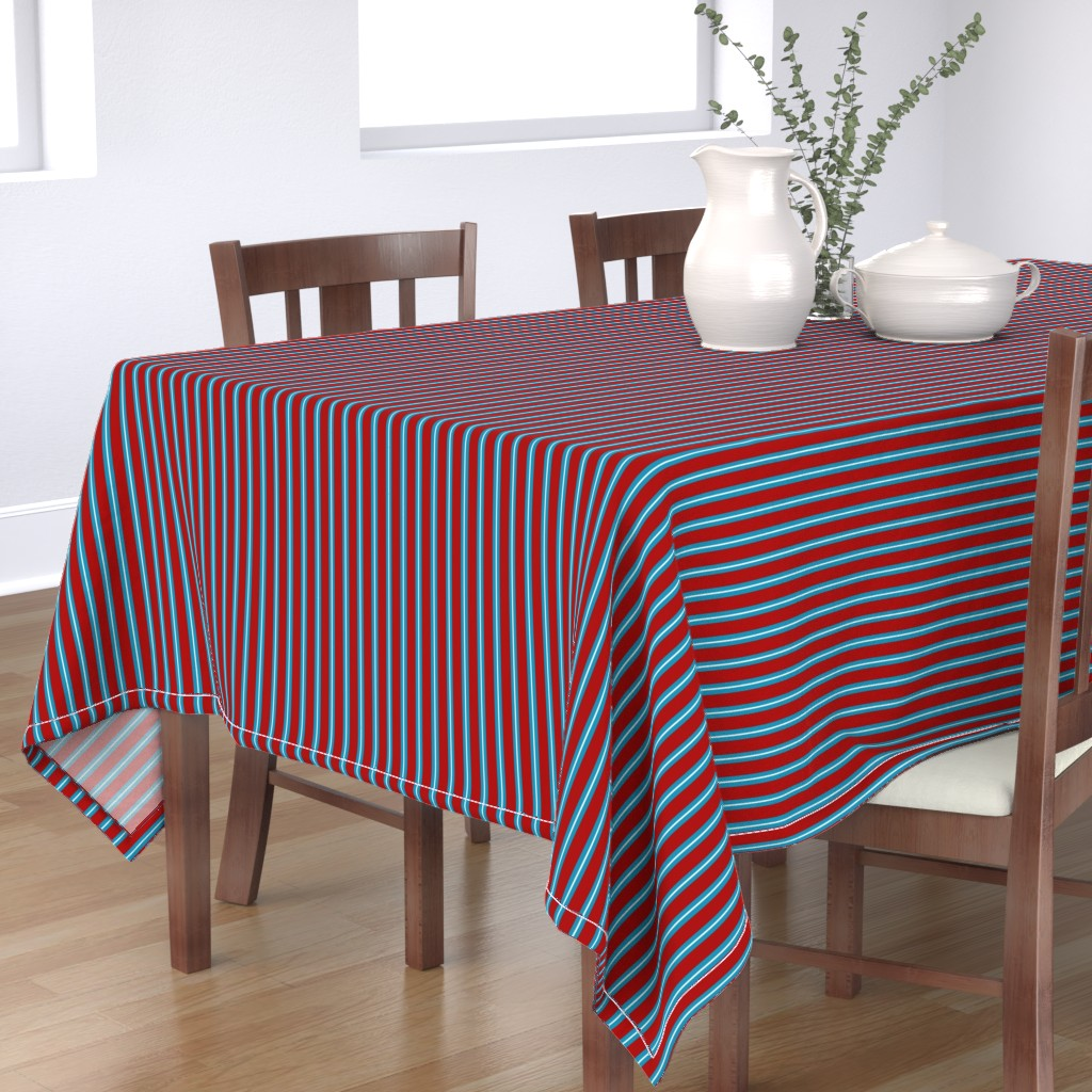 Bantam Rectangular Tablecloth featuring Red Buttons Stripes by jozanehouse