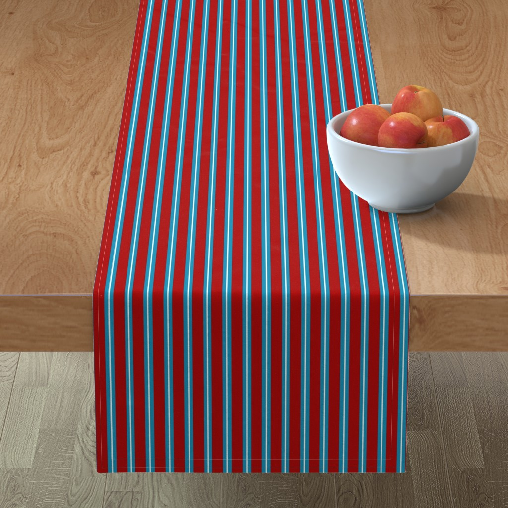 Minorca Table Runner featuring Red Buttons Stripes by jozanehouse