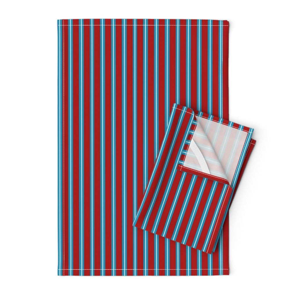Orpington Tea Towels featuring Red Buttons Stripes by jozanehouse
